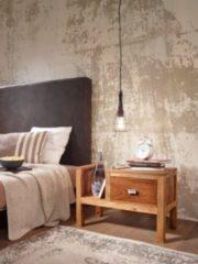 Wohnling Nachttisch MUMBAI Massiv-Holz Sheesham Nacht-Kommode 40 cm hoch Schublade mit Zeitungsablage Nachtschrank Echt-Holz