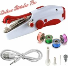 Rode Deluxe Stitcher Pro - PREMIUM Handnaaimachine met USB Kabel en Accesoires - Mini naaimachine - Compact - Draadloos - Draagbare Hand Naaimachine - Elektrisch of op Batterijen