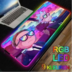 M-Glider RGB LED -- Muismat -- Rick and Morty -- 40x90Cm -- LED Verlichting - Gaming muismat XXL -- Waterproof -- Mouse pad