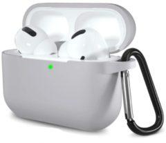 Case2go Apple Airpods Pro hoesje - Premium Siliconen beschermhoes met opdruk - 3.0 mm - Grijs