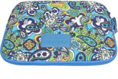 Blauwe Kinmac – Laptop/Tablet Sleeve met Paisley print tot 10 inch – 27 x 21 x 1,5 cm - Blauw/Groen