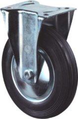 Kelfort Bokwiel, zwart rubber wiel met stalen velg en rollager, 205kg 200mm