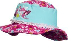 Turquoise Playshoes UV zonnehoed Kinderen Flamingo - Aqua/Roze - Maat 51cm