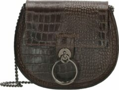Bruine Charm Leather crossbody tas dark brown