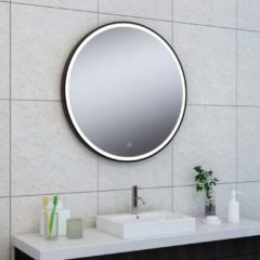 Douche Concurrent Badkamerspiegel Maro Rond 80x80cm Geintegreerde LED Verlichting Verwarming Anti Condens Touch Schakelaar Mat Zwart