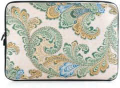 Merkloos / Sans marque Laptop sleeve tot 15.4 inch met barok print – Crème/Lichtgeel/Lichtgroen