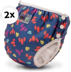 Bambinex wasbare zwemluier en oefenbroekje - 2 stuks - Lobster - maat XS
