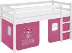 LSD Half-hoogslaper Prinses/Toverfee wit gelakt incl. de voorhangtent onder het bed