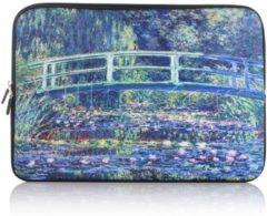 Blauwe Misstella Laptop Sleeve met natuur print tot 14 inch Blauw/Groen