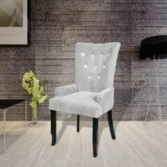 Merkloos / Sans marque Fauteuil zilver Velvet Fluweel met Kristalachtige deco / Eetkamerstoel / Loungestoel / Lounge stoel / Relax stoel / Chill stoel / Lounge Bankje / Lounge Fauteuil - Luxe Fauteuil