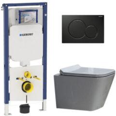 Douche Concurrent Geberit UP720 Toiletset - Inbouw WC Hangtoilet Wandcloset Rimfree - Alexandria Flatline Sigma-01 Zwart