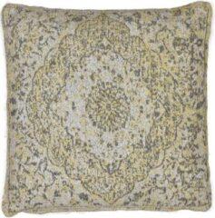 Perezvloerkleden.nl Vintage sierkussen - Tatum PS grijs geel - Chenille katoen - 45 X 45cm voor in de bank