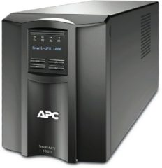 Zwarte APC Smart-UPS SMT1000IC - Noodstroomvoeding / 8x C13 aansluiting / USB / Smart Connect / 1000VA