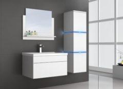 Home Deluxe Wangerooge Badmöbel-Set weiß, ca. 91 cm breit mit Seitenschrank und Spiegel (Gr. L)