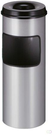 Afbeelding van As-Afvalbak met Dover 30 liter, Aluminium/Zwart