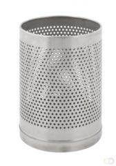 Roestvrijstalen V-part Papierbak/prullenbak geperforeerd -10L - mat RVS
