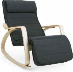 ''merkloos'' Relaxstoel - Ligstoel - Comfortabel - Basic - Hout - Stof - Grijs - 67x115x91 cm
