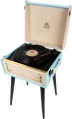 Blauwe GPO BERMUDABLU Kofferplatenspeler met ingebouwde speakers op pootjes
