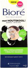 Bioré Houtskool Zelfverwarmend 1 minute masker 4 stuks