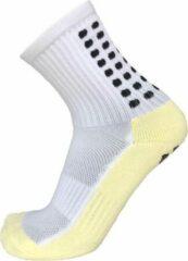 Zonder merk Gripsokken voetbal wit - sportsokken - grip - one size - anti blaren - compressie - prestatieverhogend - tennis - hardlopen - handbal - sporten - fitness - tennissokken