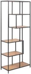 Naturelkleurige Lisomme Vic boekenkast - open met 4 planken - Eikenhout - B77 x H185 x D35 cm - bruin/zwart