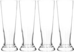 Transparante Merkloos / Sans marque 4x Bierglazen smal 370 ml - Glas voor bier 4 stuks