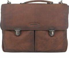 Donkerbruine Sparwell leren tas - Lederen aktetas - 15.5 inch laptoptas - Donker bruin