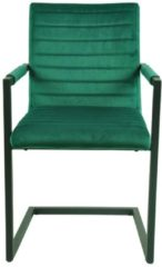 Schwingstuhl in Grün Samtbezug Armlehnen (2er Set)