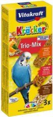 VitakraftTrio Mix honing/sesam-sinaasappel/abrikoos-honing/popcorncräcker parkiet 3-in-1