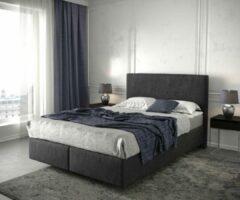 Grijze DELIFE Bed Dream-Well zwart 140x200 cm met matras en topper Boxspring-bed