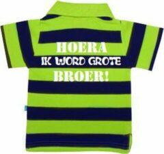 Drukkies Polo | Hoera! ik word grote broer| marine blauw/ lime groen | maat 74/80