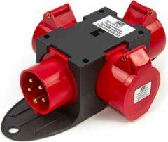 Rode Lemato 400 Volt 3 Voudig Verdeelblok 32 Ampère