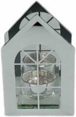 Redhart Theelichthouder huis FLEUR - Zilver - Metaal / Glas - 25 x 25 x 21,5 cm