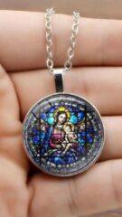 Zilveren Van Santen Fashion Charm Jewelry Ketting met hanger Maria met kind (kerkraam look)