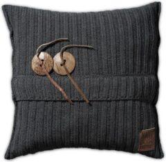 Antraciet-grijze Knit Factory Aran Sierkussen - Antraciet - 50x50