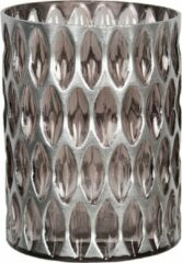 Clayre & Eef Glazen Theelichthouder 6GL2913M Ø 11*15 cm - Bruin Glas Waxinelichthouder Windlichthouder