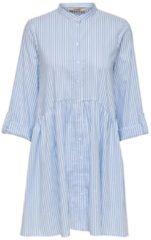 Lichtblauwe ONLY ONLDITTE LIFE STRIPE 3/4 DRESS NOOS WVN Dames Jurk - Maat 34