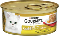 Groene Gold hartig torentje met kip en wortelen 85g kattenvoer Gourmet
