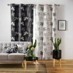 DecoToday Gordijn Met Ringen 140 cm x 240 cm Palm Trees Donker grijs