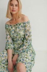 Gebroken-witte MANGO Ocean midi jurk met smockwerk en bloemenprint