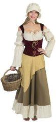 Beige Funny Fashion Boeren Tirol & Oktoberfest Kostuum | Saksische Boerendochter | Vrouw | Maat 36-38 | Carnaval kostuum | Verkleedkleding