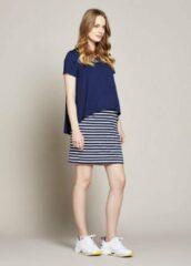 Marineblauwe Gebe Maternity Dress Stripe - Navy White Stripe (034), XS