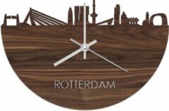 Bruine WoodWideCities Skyline Klok Rotterdam Notenhout - Ø 40 cm - Woondecoratie - Wand decoratie woonkamer