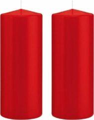 Trend Candles 2x Rode cilinderkaarsen/stompkaarsen 8 x 20 cm 119 branduren - Geurloze kaarsen - Woondecoraties