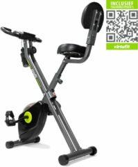 Hometrainer - VirtuFit Opvouwbare Home trainer met Rugleuning en Tablethouder - Fitness Fiets - Inklapbaar - Grijs