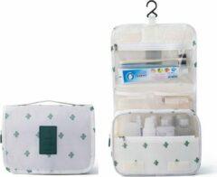 Marirosa Toilettas met Cactus print - Wit - Met Haak - Cosmetic bag - Reisartikelen