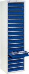 Stumpf Metall Stumpf® STS 410 Schubladenschrank mit 17 Schubladen, lichtgrau / blau - 180 x 50 x 50 cm