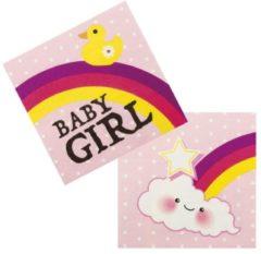 Merkloos / Sans marque Geboorte Servetten Meisje Baby Girl 33x33cm 12 stuks