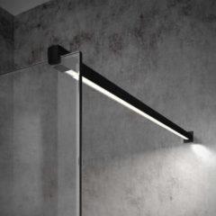 Inloopdouche Bellezza Bagno StabiLight 70x195cm 8 mm Helder Glas Antikalk Inclusief Stabilisatiestang Met Verlichting Mat Zwart
