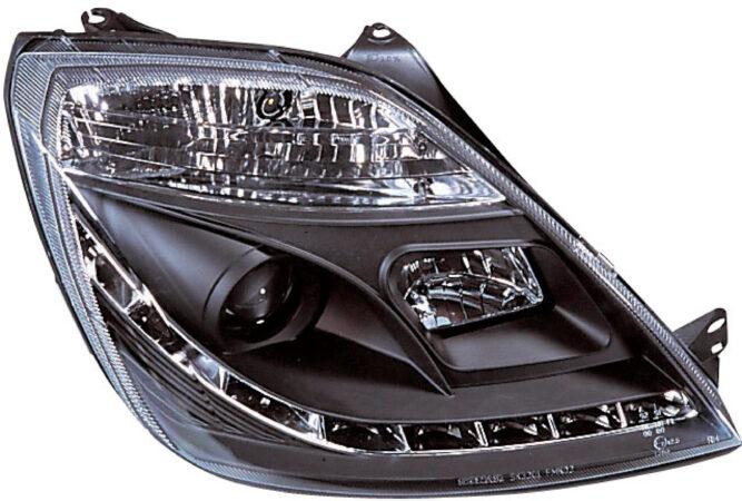 Afbeelding van AutoStyle Set Koplampen DRL-Look passend voor Ford Fiesta VI 2002-2008 - Zwart - incl. Motor